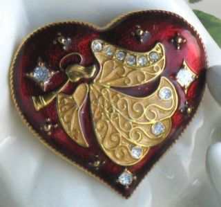 monet vintage style valentine heart angel brooch pin