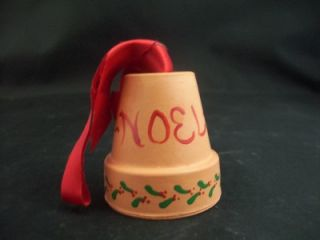 Christmas Bell Mini Clay Planter Noel Holly Design Neat