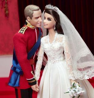 2012 Barbie Doll Prince Williams Catherine Royal Wedding Gift Set Gold