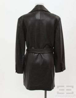 Andrew Marc Collections Black Leather Belted Trench Jacket Size S