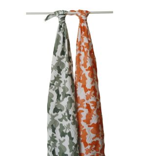 New Aden Anais Swaddle Muslin Orange Camo Blanket