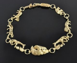 Vintage 10K Yellow Gold Noahs Ark Animal Charm Religious Link Bracelet