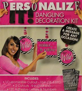 Zebra Animal Print Customizable Dangling Decoration Kit Birthday Party