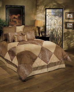 8PC Designer Lush Suede Leopard Print Comforter Set Q