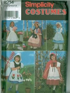 Simplicity Storybook Fairy Tale Costume Sewing Pattern Halloween