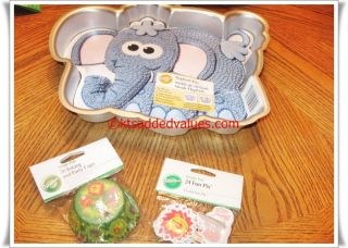 Wilton Elephant Character Cake Pan with Jungle Baking Cups Set New