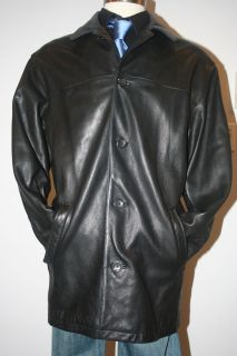 Mens STUDIO ANDREW MARC for Wilsons Black Genuine Leather Car Jacket