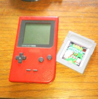 Nintendo Game Boy Pocket Red Handheld System Tetris Pinball Game