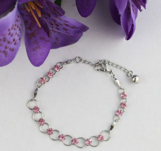 6PCS Pink Rhinestone Ring Chain Anklets #21967