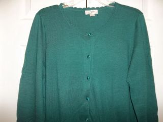 Ann Taylor LOFT Womans Green Soft Cotton Acrylic Cardigan Sweater Top