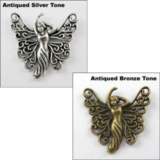 Silver Bronze Dancing Angel Wings Charms Pendants 25x26mm L201