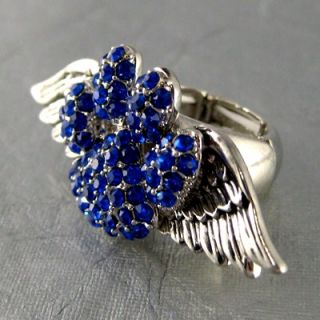 Angel Wings Blue Crystal Dog Paw Printed strechy Ring