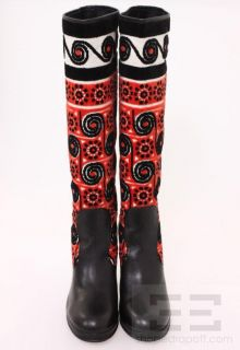 Anna Sui Black Leather & Multicolor Terrycloth Print Runway Boots Size