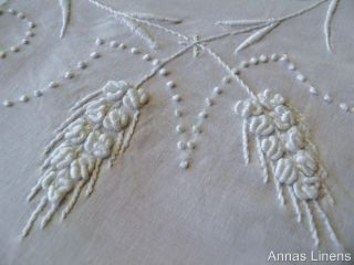 Antique White Linen Cloth Hand Embroidered Whitework Flowers