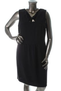 Anne Klein New Black Wool Double Crepe Sheath Career Dress 6 BHFO