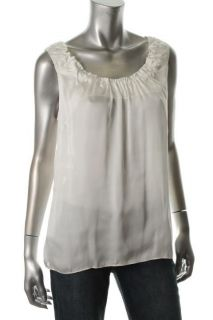 Anne Klein New Ivory Ruched Scoop Neck Satin Sleeveless Blouse Shirt M