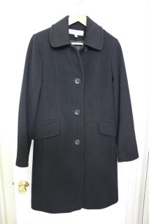Anne Klein Womens Long Black 3/4 Length Wool Blend Cashmere Coat