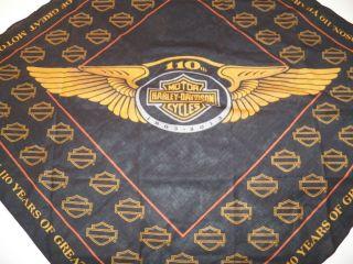 Harley Davidson 110th Anniversary Logo Bandana Mens Genuine HD Item