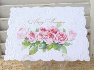 Carol Wilson Happy Anniversary Greeting Card Pink Roses