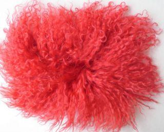 Coral RED DOLL HAIR Tibetan lambskin OOAK Fairy BJD Blythe Troll