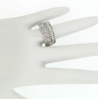 14k White Gold Wideband Diamond Anniversary Ring Band