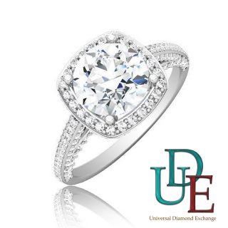 Diamond Engagement Anniversary Ring 2 19 Carat Round Shape 18K White
