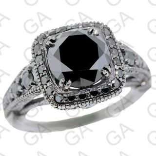 DGL Certified Natural Black Round Diamond Ring Anniversary Ring