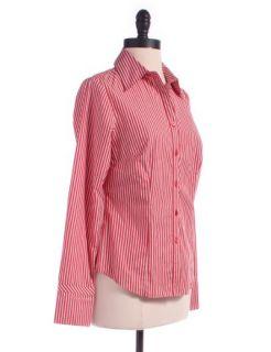 Ann Taylor Loft Striped Button Down Shirt Sz 4 Top Red Blouse