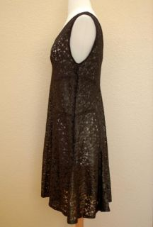 Anna Sui Dress Sheath Semi Sheer Black Gold Sleeveless Knee Length Sz