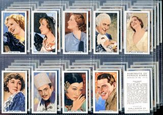 Tobacco Card Set Gallaher Portraits of Famous Stars Actor Actress 1935