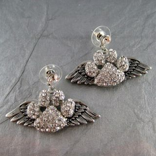 Angel Wings On Clear Crystal Dog Paw Printed Dangle Stud Earrings