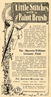 1897 Ad Sherwin Williams Creosote Paint Angel Cherub Original