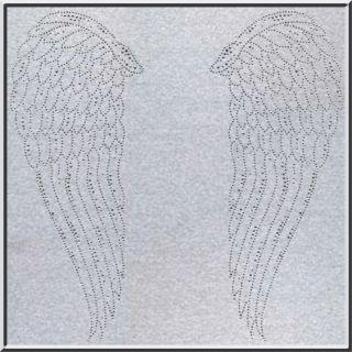 Glittering Rhinestones Cherub Angel Wings Long Sleeve Shirt s XL 2X 3X