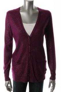 Anne Klein NEW Purple Long Sleeve Button Down Cardigan Sweater S BHFO
