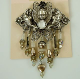Kirks Folly Angel Wings Crystals Pin Silver Finish Vintage Retired