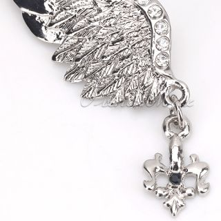 New Unisex Silver Crystal Angel Wing Men Brooch Pins Badge