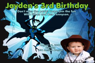 Personalized Custom Ben 10 Birthday Photo Invitation
