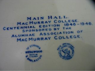Wedgwood MacMurray College Plates 2 Annie Merner Chapel 2 Main Hall