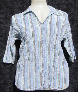 Angelique Top Womans Size 3X Stretchy Blouse Shirt Pinstripe Blue