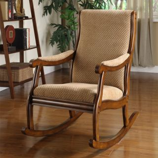 Antique Natural Oak Solid Wood Rocking Accent Chair