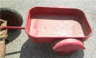 ANTIQUE INLAND TRACTALL CHAIN DRIVEN PEDAL TRACTOR CAR RED w/ WAGON