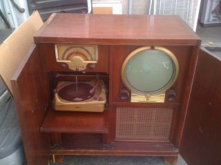 Antique Zenith Vintage Television Gramophone Radio Collectable