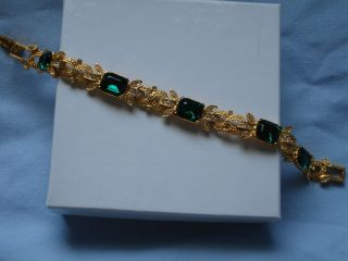 Joan Rivers Simulated Emerald Diamond Stone Bracelet New