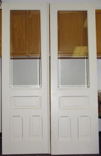 Antique Double Solid Hard Wood Interior French Doors w Beveled Glass