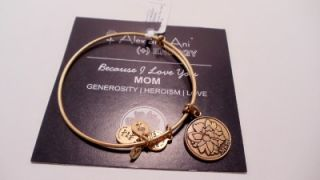 New Alex and Ani Because I Love You Mom Charm Adjustable Bracelet Love