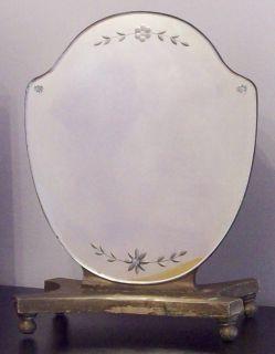 Vintage 18 FLORENTINE TOLE GOLD Etched Beveled Dresser Vanity Mirror