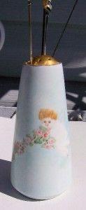 Antique Porcelain Hat Pin Holder Bavarian Angel Cherub