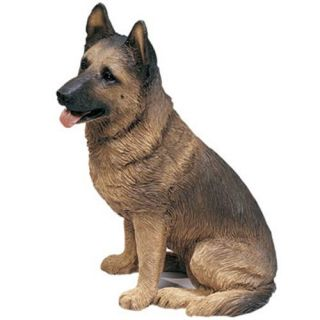 Cute German Shepherd Dog Statue Original Figurine Sculpture