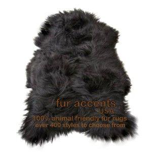Black Sheepskin Pelt Accent Rug Faux Fur Animal Accent Bear Shag
