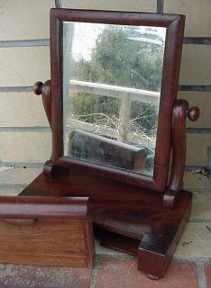 Antique Empire Style Mahogany Tabletop Shaving Mirror Stand Original